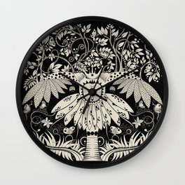 Owl king in black & white Wall Clock