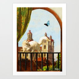 The Butterfly and the Cat Art Print