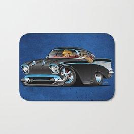 Classic hot rod fifties muscle car with cool couple cartoon Bath Mat