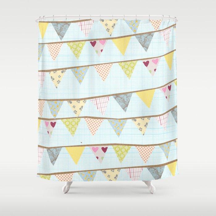 bunting fun Shower Curtain by flyingbathtub | Society6
