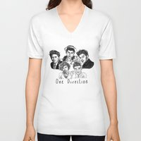 one direction V-neck T-shirts featuring One Direction by Hollie B