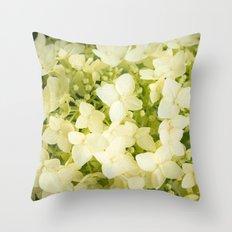 The flowers of white hydrangeas. Throw Pillow