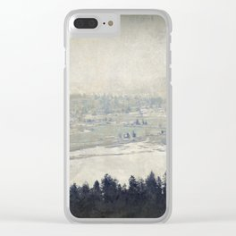 antiqued view from the Astoria Column Youngs Bay Clear iPhone Case