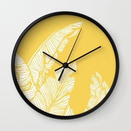 Banana Leaves on Yellow #society6 #decor #buyart Wall Clock