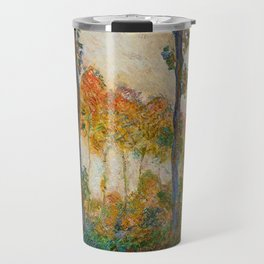 Autumn Trees in full fall foliage by the marshes landscape painting by Claude Monet Travel Mug