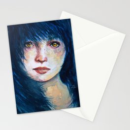 Blue hair Stationery Cards