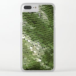 Green spangle Clear iPhone Case