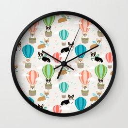 Corgi hot air balloon ride cute gifts for corgi lovers welsh corgi red and tricolored Wall Clock