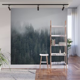 Misty Morning - Fog Rises off Mountains Revealing Forest in Washington Wall Mural