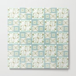 Mosaic Pattern 2. mint, gold, white, mosaic, decor, art,  Society6. Metal Print