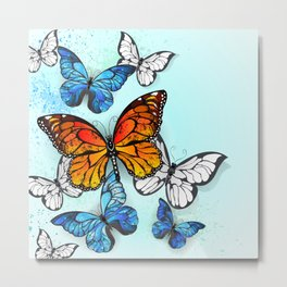 Background with Monarchs and Morpho Metal Print