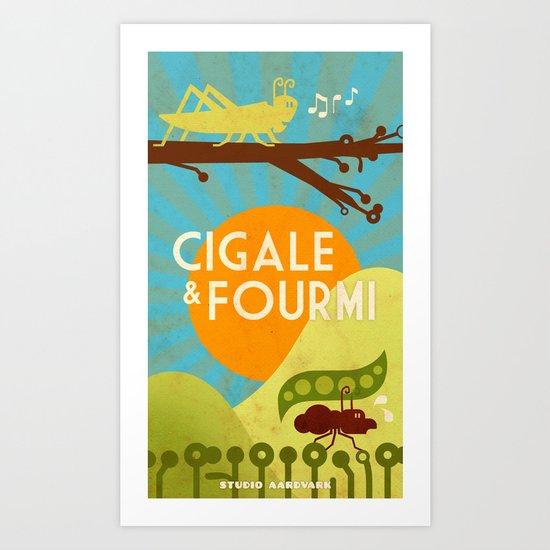 Cigale & Fourmi Art Print
