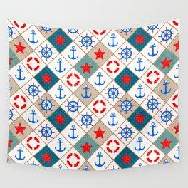 Nautical pattern . 1 Wall Tapestry