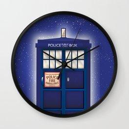 vintage police box starfield Wall Clock