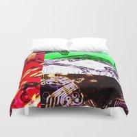 arab Duvet Covers featuring circuit board united arab emirates (flag) by seb mcnulty