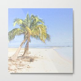 Palm in the beach Metal Print
