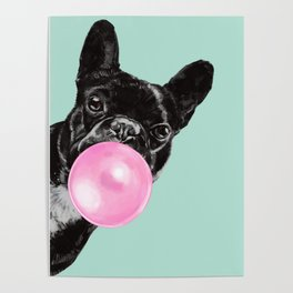 Bubble Gum Sneaky French Bulldog in Green Poster