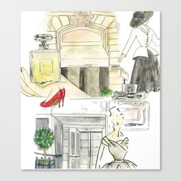 Shopping in paris Canvas Print