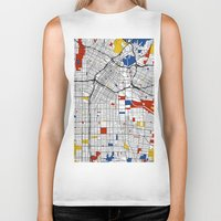 los angeles Biker Tanks featuring Los Angeles by Mondrian Maps