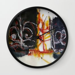 Tribute to Bangla Letters II - Mixed Media Beeswax Encaustic Abstract Modern Fine Art, 2015 Wall Clock