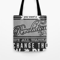 revolution Tote Bags featuring Revolution.  by Creation Factory