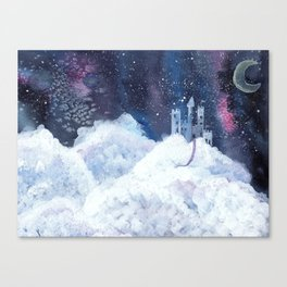 castle in the galaxy painting Canvas Print