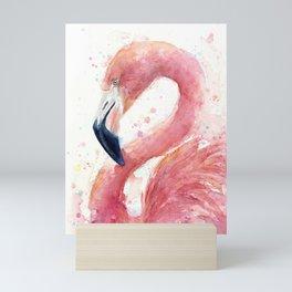 Pink Flamingo Watercolor Mini Art Print