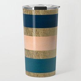 Geometrical coral navy blue burgundy gold watercolor Travel Mug