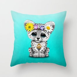 Cute Baby Snow Leopard Cub Hippie Throw Pillow