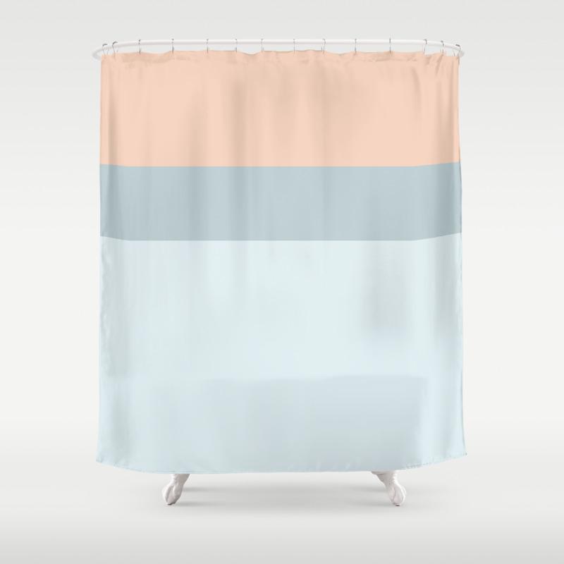Modern Pastel Coral Blue Color Block Stripes Shower Curtain