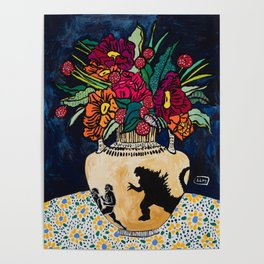 Godzilla Greek Urn with Peony Bouquet Winter Floral Still Life Painting Poster
