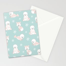 ARCTIC FRIENDS (green) Stationery Cards
