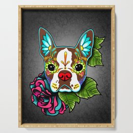 Boston Terrier in Red - Day of the Dead Sugar Skull Dog Serving Tray