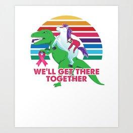 Breast Cancer Sloth Unicorn T-Rex Dinosaur Art Print