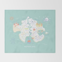 Neverland Map - Full Color Throw Blanket