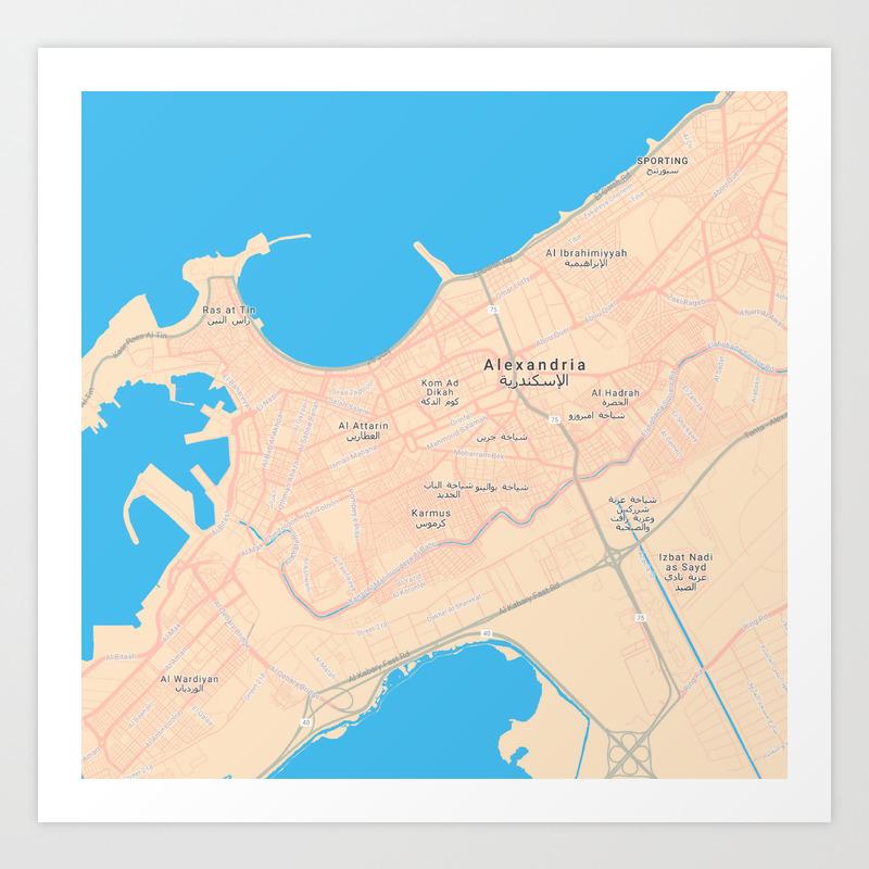 Minimalist Modern Map of Downtown Alexandria, Egypt 2 Art Print
