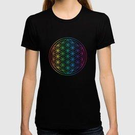Flower Of Life Rainbow Sacred Geometry T-shirt