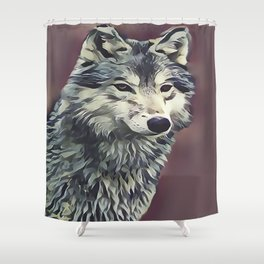 The Tundra Wolf Shower Curtain