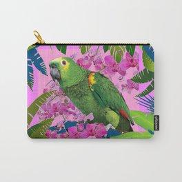 TROPICAL GREEN PARROT JUNGLE ART  ART DESIGN Carry-All Pouch