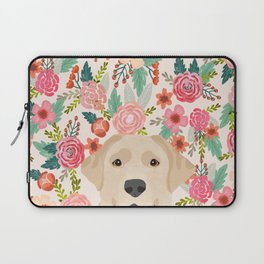 Labrador Retriever yellow lab floral pattern cute florals dog breed pure breed dog lover gifts Laptop Sleeve