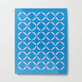 Minimalist Geometric Shapes in Pink and Blue Metal Print