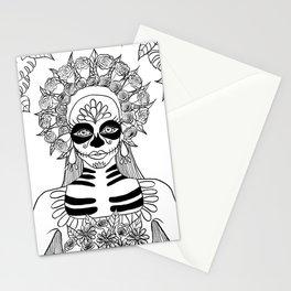 La Calavera Catrina Sugar Skull Ink Drawing Stationery Cards