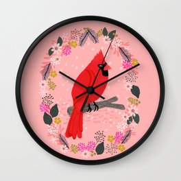 Northern Cardinal by Andrea Lauren  Wall Clock