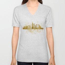New york skyline in gold Unisex V-Neck