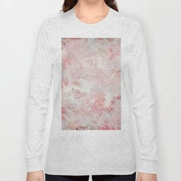 Vintage Floral Rose Roses painterly pattern in pink Long Sleeve T-shirt
