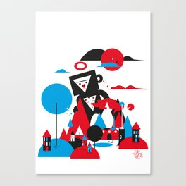 Monkey in the city Canvas Print