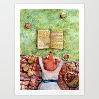 reading Art Prints featuring Reading by msbordrog