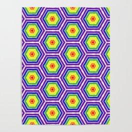 Pride Honeycomb Reverse Rainbow Poster