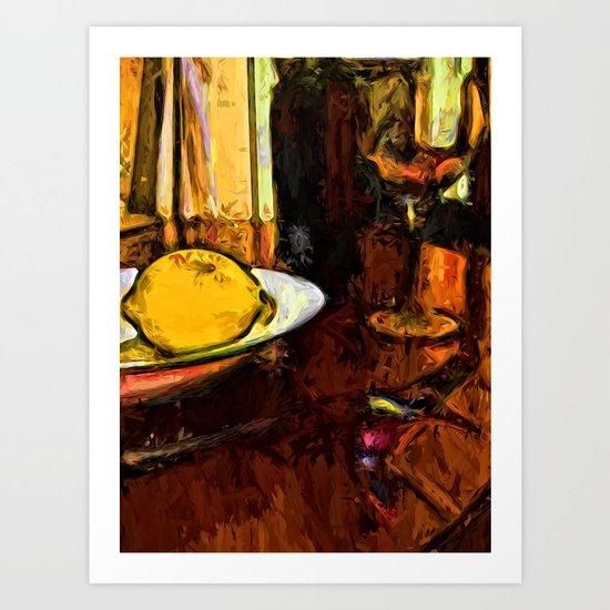 Lemon, Wine, Glass and Fork Art Print
