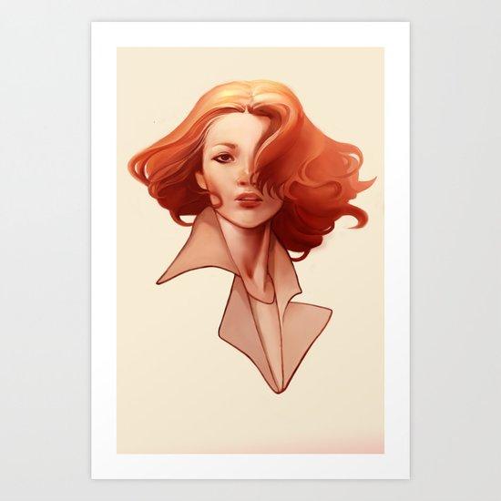 Art Deco Redhead Art Print
